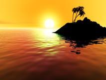 Solnedgång över den tropiska ön Arkivbild