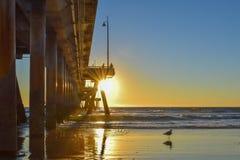 Solnedgång över den Venice Beach pir i Los Angeles, Kalifornien arkivfoto