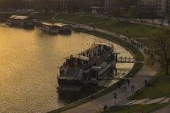 Solnedgång över den Vistula krökningen Royaltyfria Foton