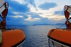 Solnedgång över det Aegean havet Royaltyfria Foton