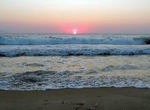 Solnedgång över det Aegean havet Fotografering för Bildbyråer