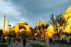 Solnedgång över det Hagia Sophia museet Fotografering för Bildbyråer