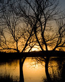 Solnedgång över en sjö Fotografering för Bildbyråer