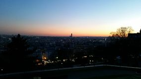 Solnedgång över en vintriga Paris Royaltyfria Foton