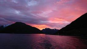 Solnedgång över fjorden Royaltyfri Fotografi