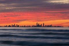 Solnedgång över Gold Coast Fotografering för Bildbyråer