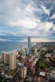 Solnedgång över Goldet Coast Fotografering för Bildbyråer