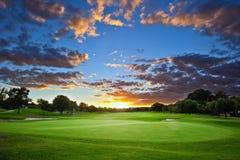 Solnedgång över golfbana Royaltyfri Foto