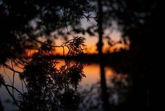 Solnedgång över Greaten Lakes Royaltyfri Bild