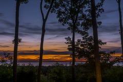 Solnedgång över Green Bay i Door County, Wisconsin royaltyfria foton
