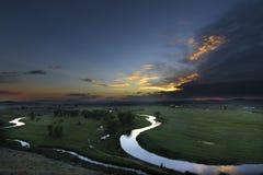 Solnedgång över Green River Royaltyfri Fotografi