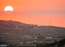 Solnedgång över Haiti Arkivbilder
