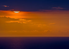 Solnedgång över Haiti Royaltyfri Bild