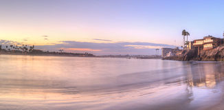 Solnedgång över hamnen i Corona del Mar Arkivbild