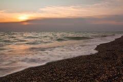 Solnedgång över havet Fotografering för Bildbyråer
