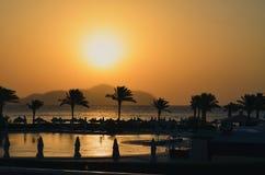 Solnedgång över havet med berg och palmträd royaltyfri foto