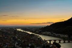 Solnedgång över Heidelberg Arkivbilder