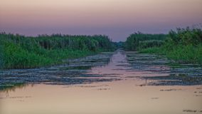 Solnedgång över kanalen i Donaudelta royaltyfri bild