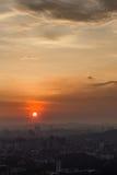 Solnedgång över Kuala Lumpur stadsmitt Fotografering för Bildbyråer