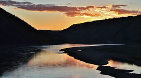 Solnedgång över kullarna i Alberta Fotografering för Bildbyråer