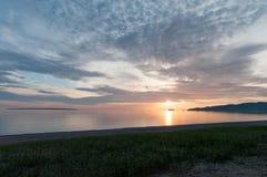 Solnedgång över Lake Superior Fotografering för Bildbyråer