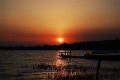 Solnedgång över Lake Victoria Arkivbild