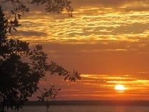 Solnedgång över laken Royaltyfria Foton