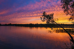 Solnedgång över laken Arkivbild