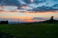 Solnedgång över Malvernsen Royaltyfria Bilder