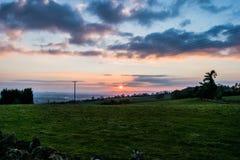 Solnedgång över Malvernsen Arkivfoton