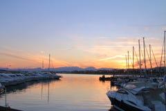 Solnedgång över marina i det Balearic havet Royaltyfria Bilder