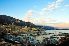 Solnedgång över Monaco Arkivfoto