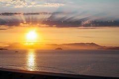 Solnedgång över monteringen Tam från San Francisco royaltyfri bild