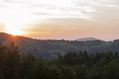 Solnedgång över monteringen tara Royaltyfria Foton