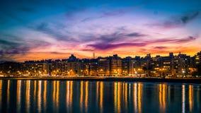 Solnedgång över Montevideo royaltyfria bilder