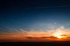 Solnedgång över nordliga England Royaltyfri Foto
