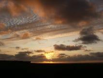 Solnedgång över Nordsjön Royaltyfria Foton