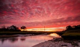 Solnedgång över norr Hampton Beach Royaltyfri Fotografi