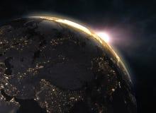 Solnedgång över planetjord, Europa Royaltyfria Bilder