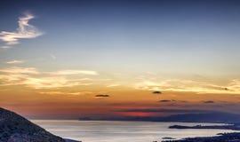 Solnedgång över Puerto de Mazarron, Spanien royaltyfria bilder