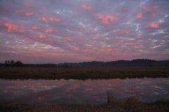 Solnedgång över Ridgefield Arkivfoto