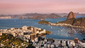 Solnedgång över Rio de Janeiro Moving Time Lapse stock video
