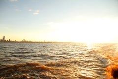 Solnedgång över Rioet de la Plata Royaltyfria Foton