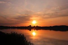 Solnedgång över Rozkos Arkivbild