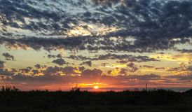 Solnedgång över södra Texas arkivfoto