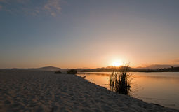 Solnedgång över San Jose Del Cabo Estuary/lagun i Baja California Mexico Arkivbilder