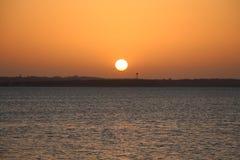 Solnedgång över sjön Texoma royaltyfria foton