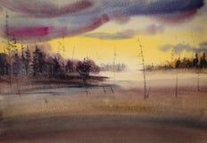 Solnedgång över skogen Royaltyfria Foton