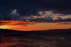 Solnedgång över Skye Bridge Royaltyfri Fotografi
