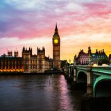 Solnedgång över staden av London, UK Royaltyfria Foton